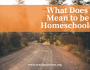 What Does it Mean to be a Homeschooler?